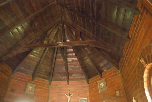 Hand-crafted_wooden_beam_ceiling_at_at_Llandaff_Oratory